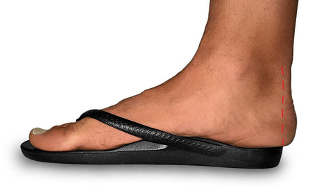Archies Flip Flops - side view with too much overhang