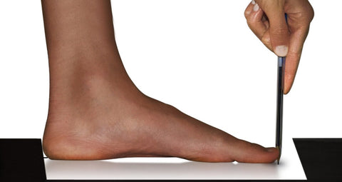 Measuring your Foot: Mark your toe
