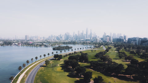 View of Melbourne from the suburbs.
