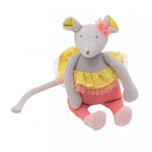 Little Opera mouse soft toy dressed in a tutu in yellow dot cotton poplin, lined with pink tulle with a little tulle knot on the head.