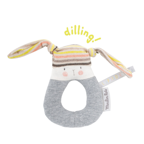 Les Petits Dodos - Striped Rabbit Ring Rattle