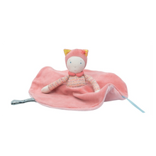 Mademoiselle child's comfort blanket with butterfly knot, elegant and delicate with cute face wearing a bonnet with cat ears.