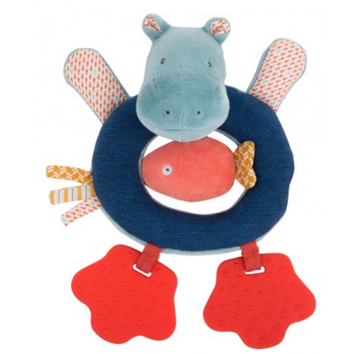 Hippopotamus rattle-ring in blue soft velour and striped jersey with a little coral fish in the middle.