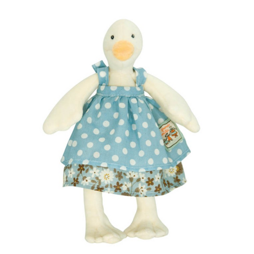 Tiny Jeanne, the duck, part of La Grande Famille range by Moulin Roty is beautifully made, extremely sweet and very soft and cuddly.