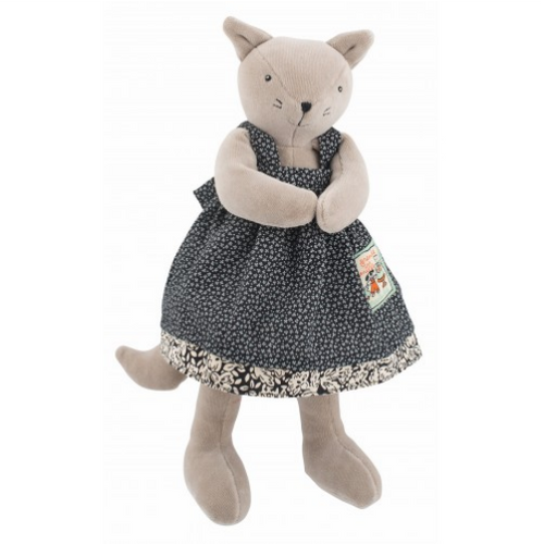 Moulin Roty's Le Grande Famille's Agathe is new in the family, she is a nice and patient 30 cm tall cat and will love to cuddle your baby.