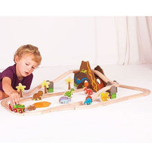 BigJigs Dinosaur wooden Train Set and accessories