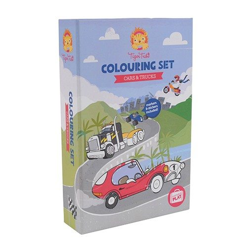 Tiger Tribe's Colouring  set - Cars & Trucks front view