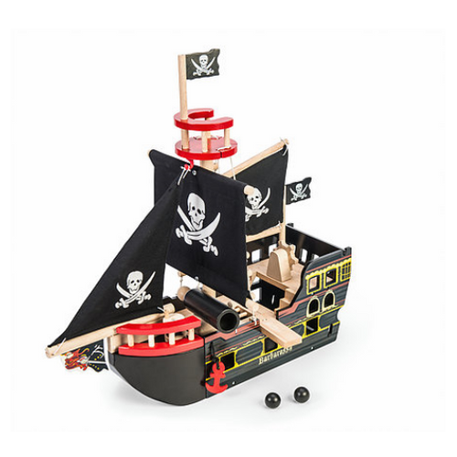 Le Toy Van's Barbarossa hand painted wooden Pirate Ship