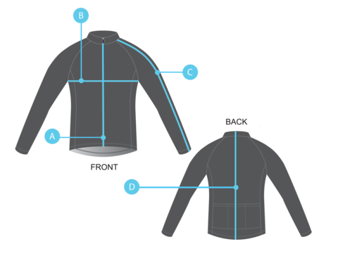 Pedla cycling jacket size chart