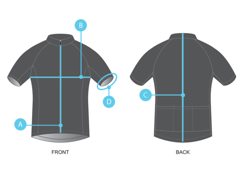 The Pedla Jersey Size Guide diagram