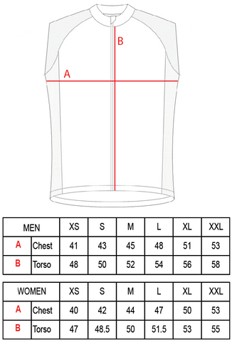 VeloOne gilet size guide