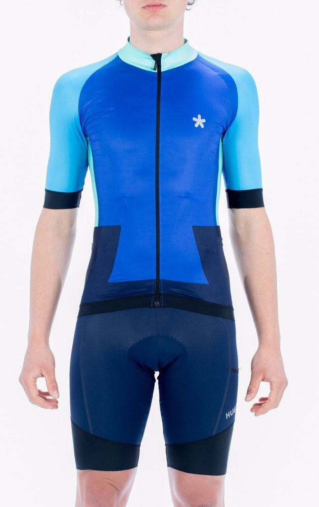 HUEZ Cycling Jersey - Colour Bleed Jersey | Klein Blue