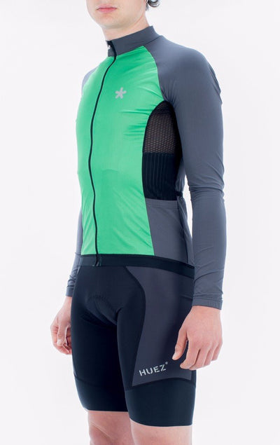 HUEZ Cycling Jersey - Contract Wind LS Jersey | Pea