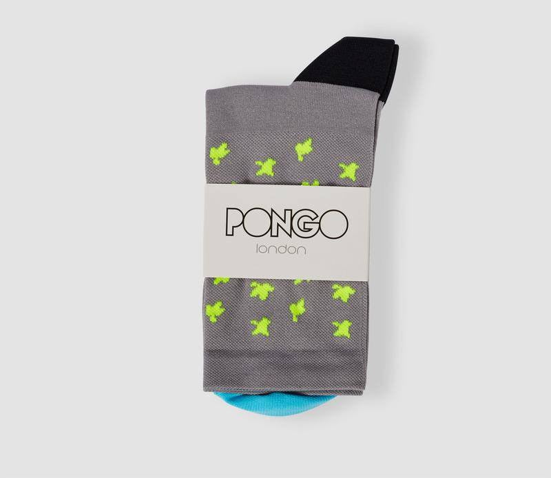 Pongo Cycling Socks - Collection Two | Leaf Fluro Yellow & Carbon Grey