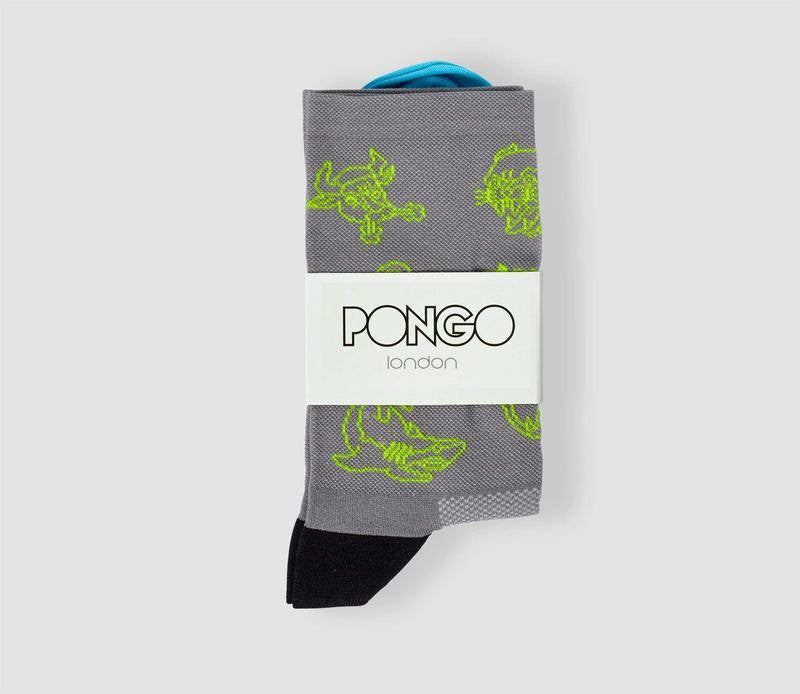 Pongo Cycling Socks - Collection Two | Tattoo Fluro Yellow