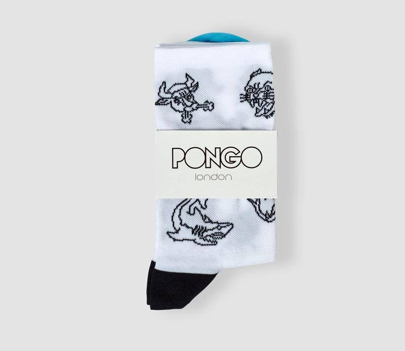 Pongo Cycling Socks - Collection Two | Tattoo White