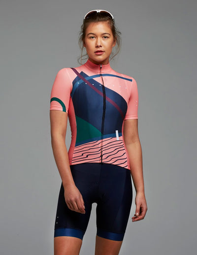 womens cycling Linear Jersey | Peach