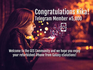 Congratulations Kika, our 5,000th member, for winning an iPhone on Telegram!