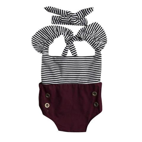 Striped Buttons Romper - The Trendy Toddlers