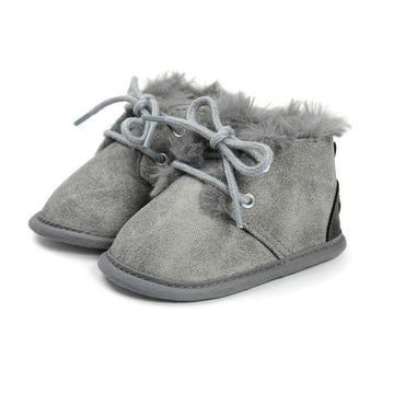 Gray Faux Fur Boots