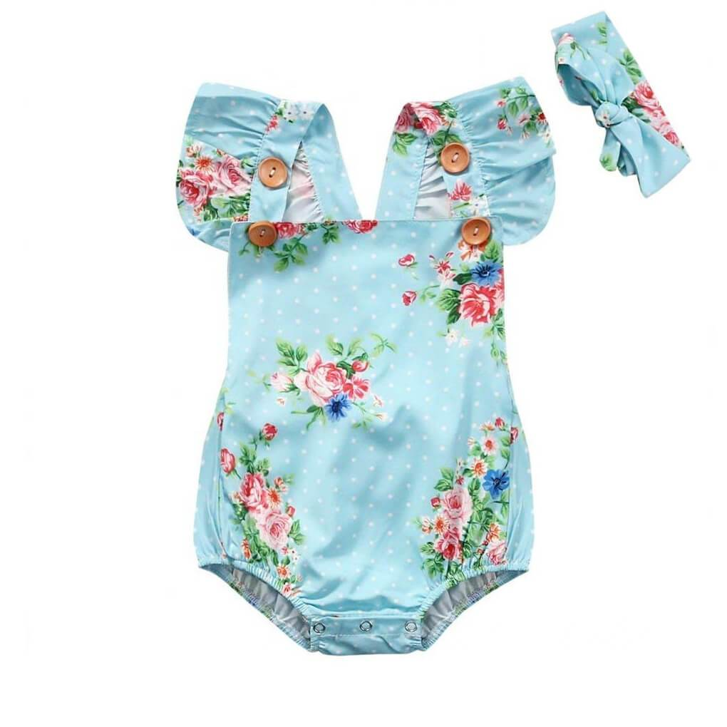 Wooden Buttons Floral Romper