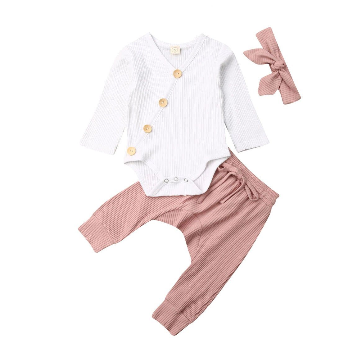 Side Button Dusty Pink Set - The Trendy Toddlers
