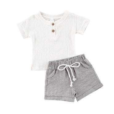 White Linen Striped Set