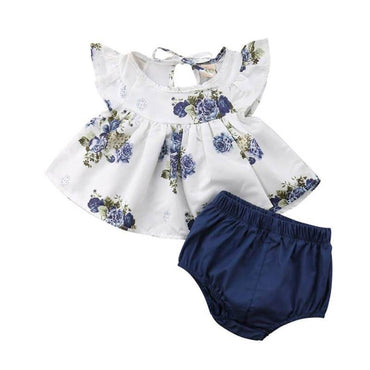 Dark Blue Floral Set - The Trendy Toddlers