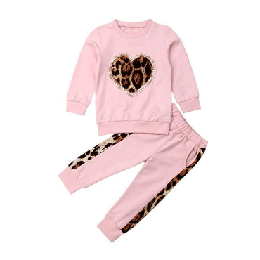 Leopard Heart Pink Set