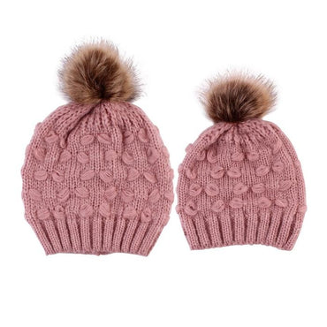 Matching Knit Pom Pom Hat