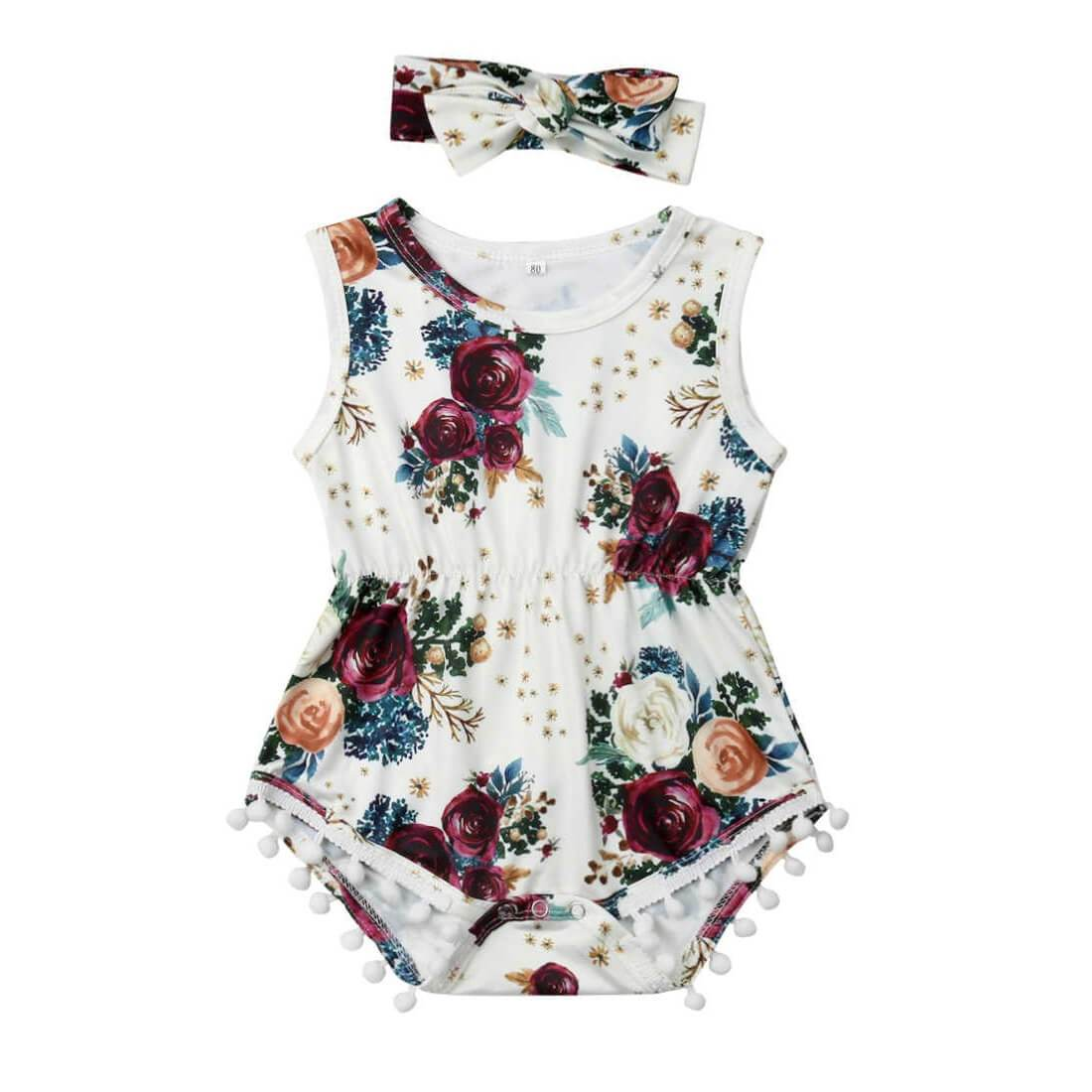 Sleeveless Tassel Floral Romper - The Trendy Toddlers
