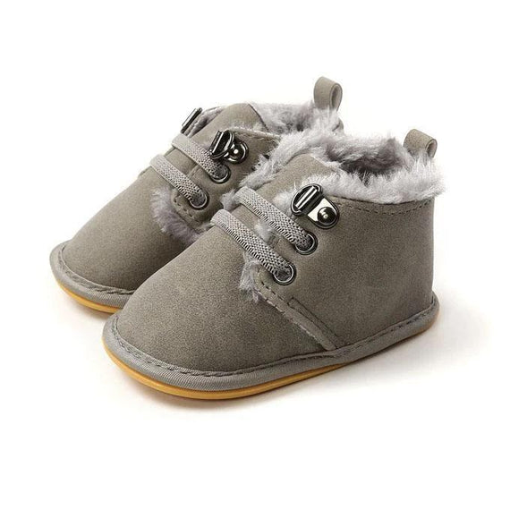 Gray Solid Fur Boots