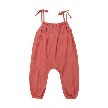 Coral Halter Jumpsuit - The Trendy Toddlers