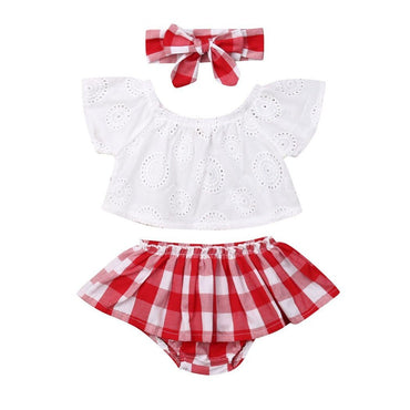 Red Plaid Lace Set