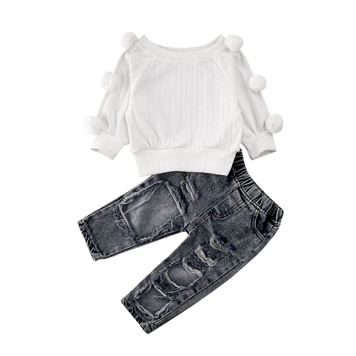 Pom Pom Sweater Jeans Set - The Trendy Toddlers