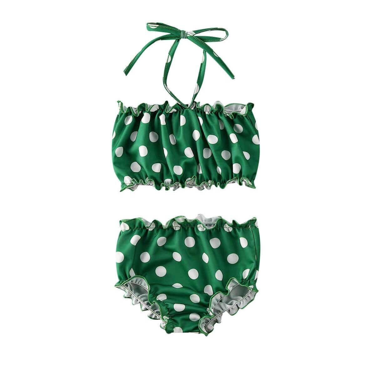 Green Polka Dot Swimsuit - The Trendy Toddlers