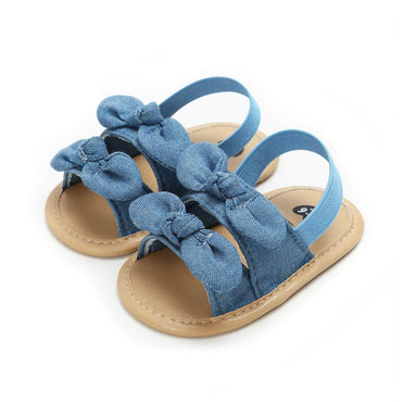 Denim Bow Sandals - The Trendy Toddlers