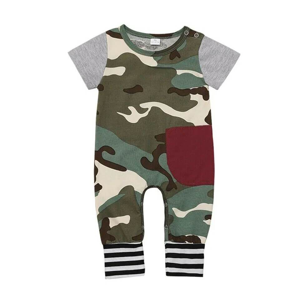 Short Sleeve Camo Jumpsuit - The Trendy Toddlers