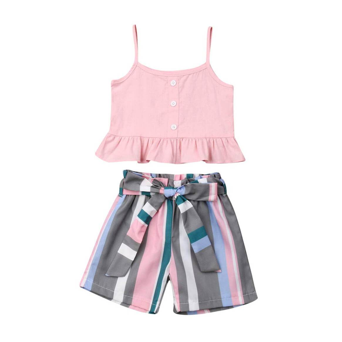 Striped Bow Shorts Set - The Trendy Toddlers