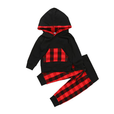 Black Plaid Hooded Set
