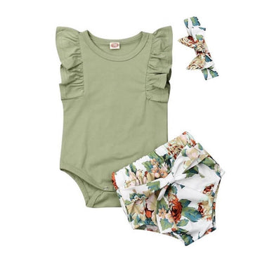Olive Ruffled Floral Set