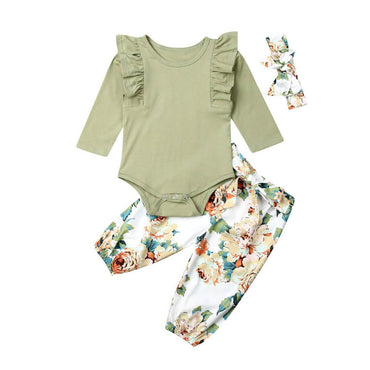 Ruffled Olive Floral Set - The Trendy Toddlers