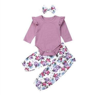 Long Sleeve Purple Floral Set - The Trendy Toddlers