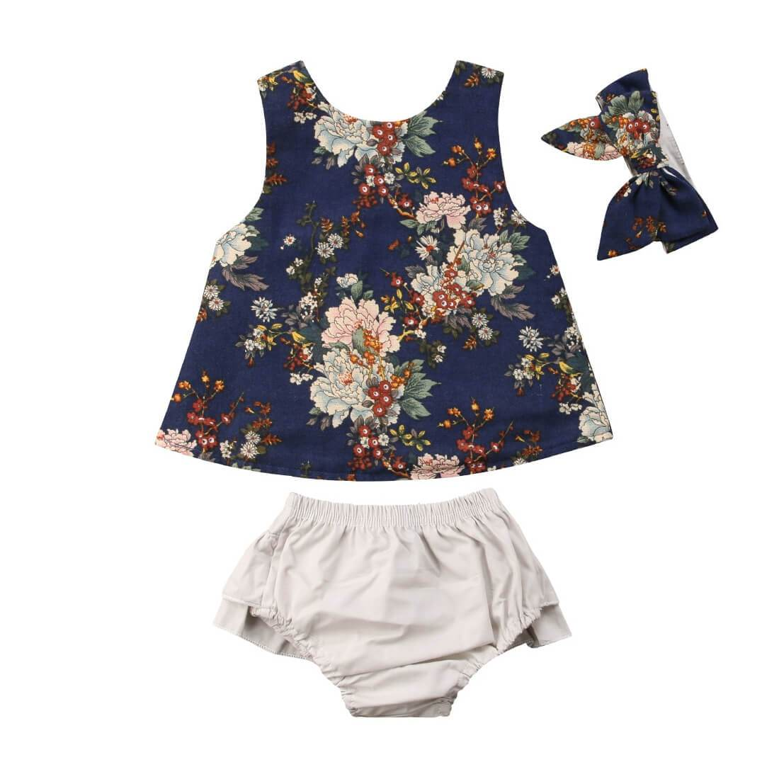 Navy Floral Set - The Trendy Toddlers