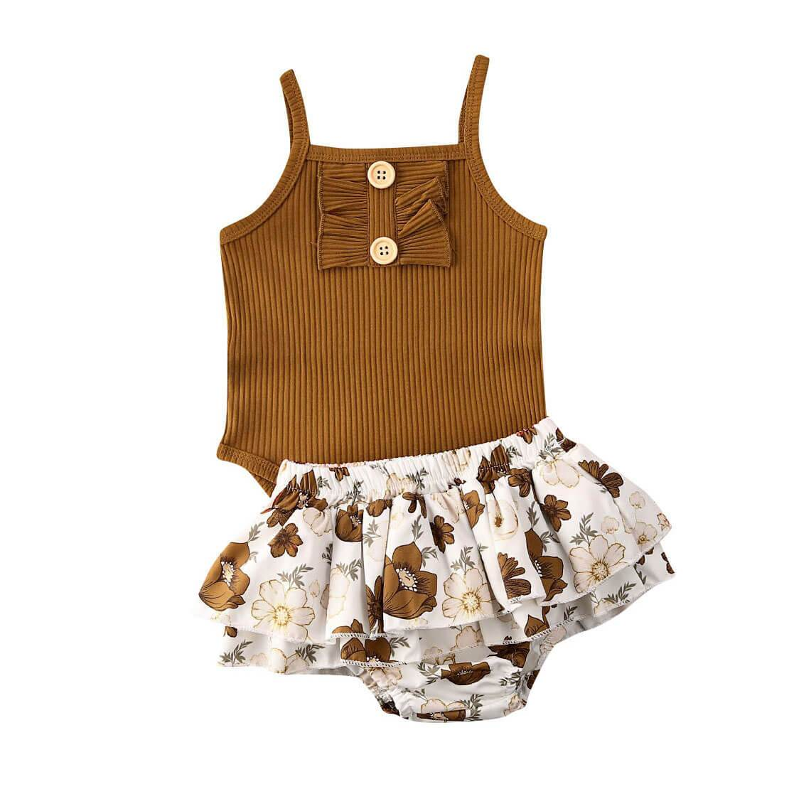Brown Floral Set - The Trendy Toddlers