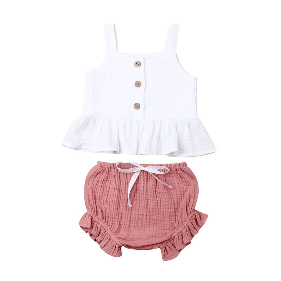 White Ruffled Top Set - The Trendy Toddlers