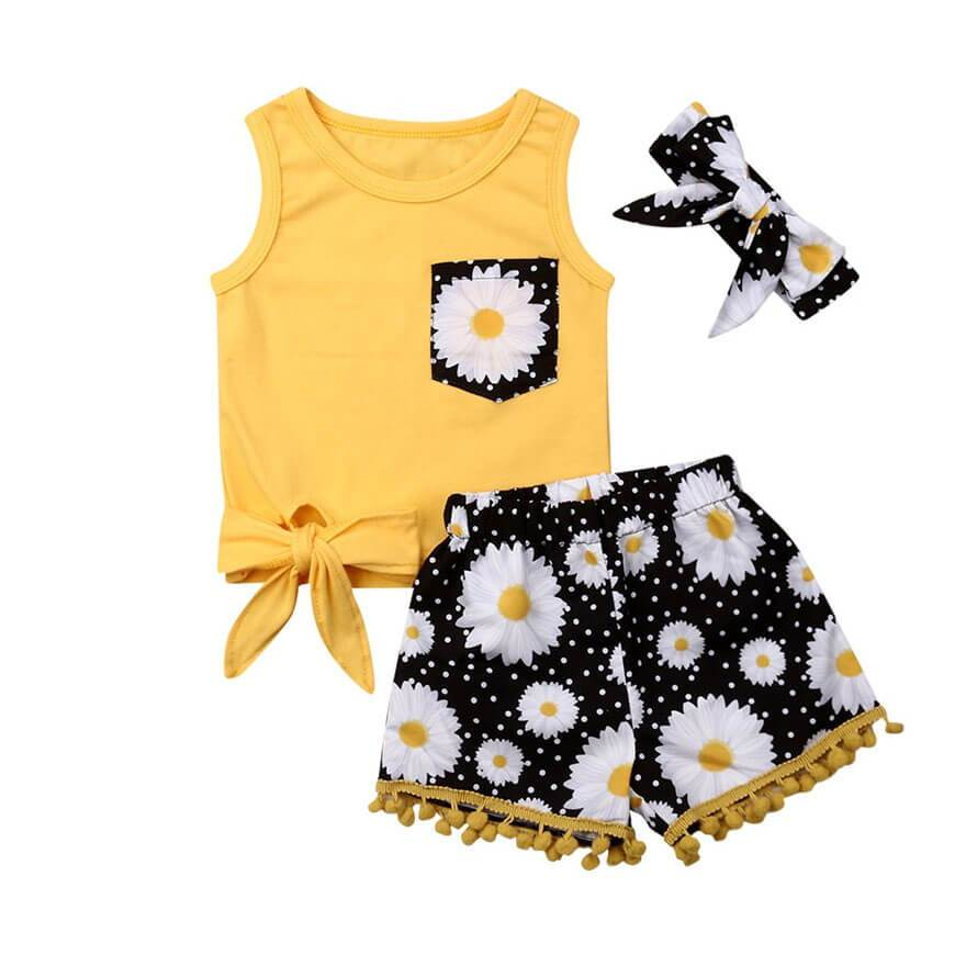 Yellow Floral Tassel Set - The Trendy Toddlers