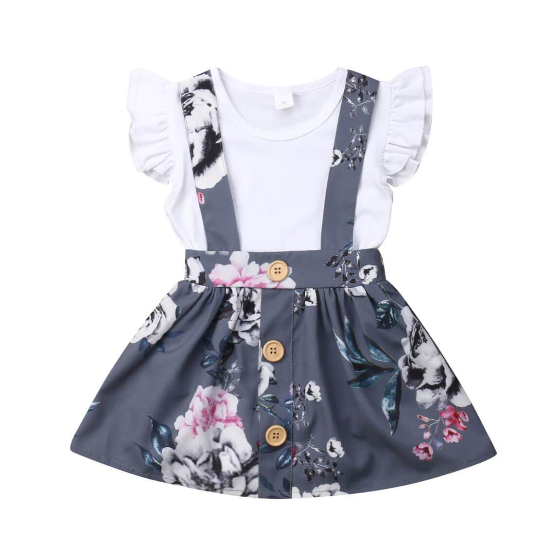 Floral Suspender Skirt Set - The Trendy Toddlers