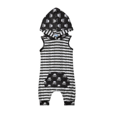 Sleeveless Skulls Hooded Jumpsuit