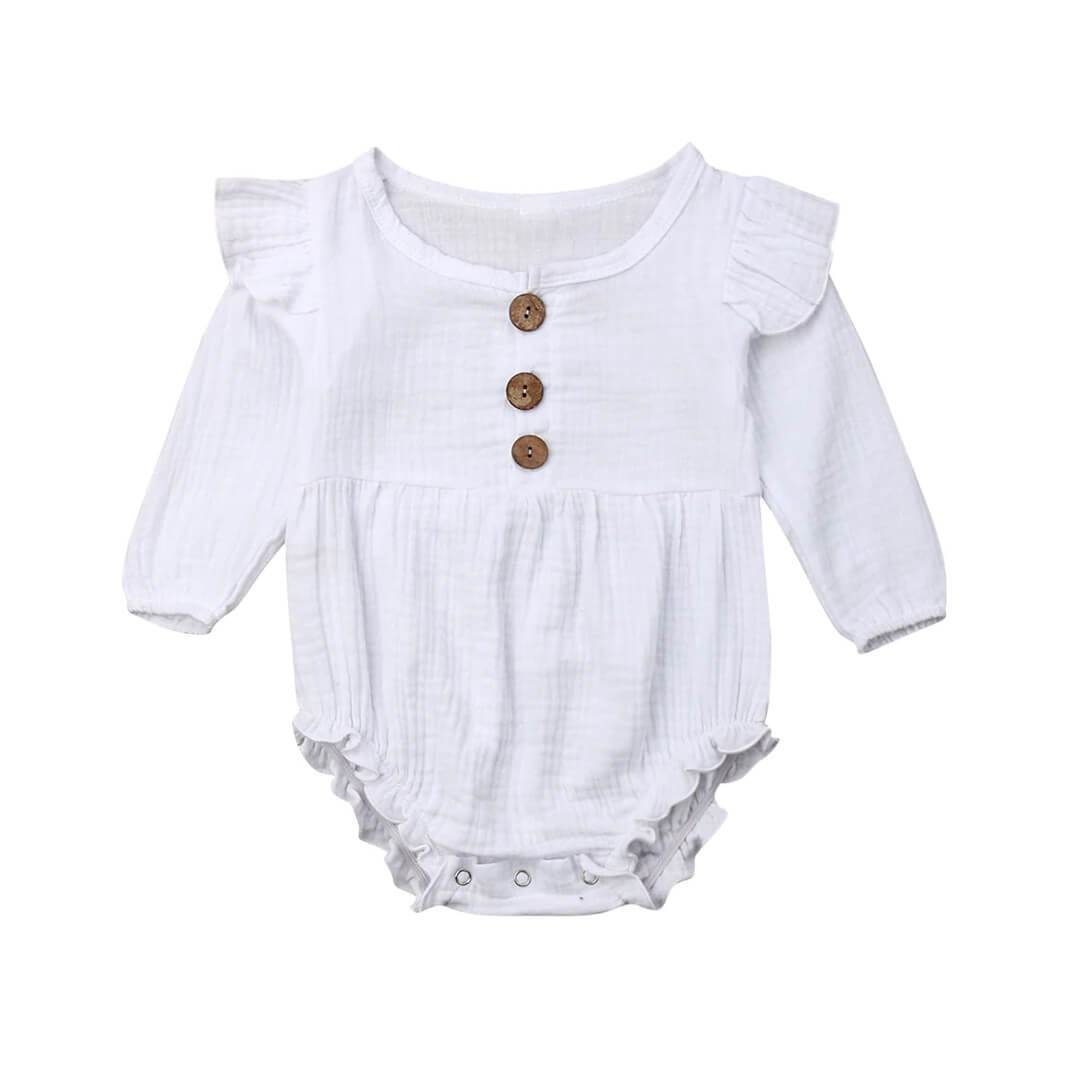 Long Sleeve Solid Ruffles Romper - The Trendy Toddlers